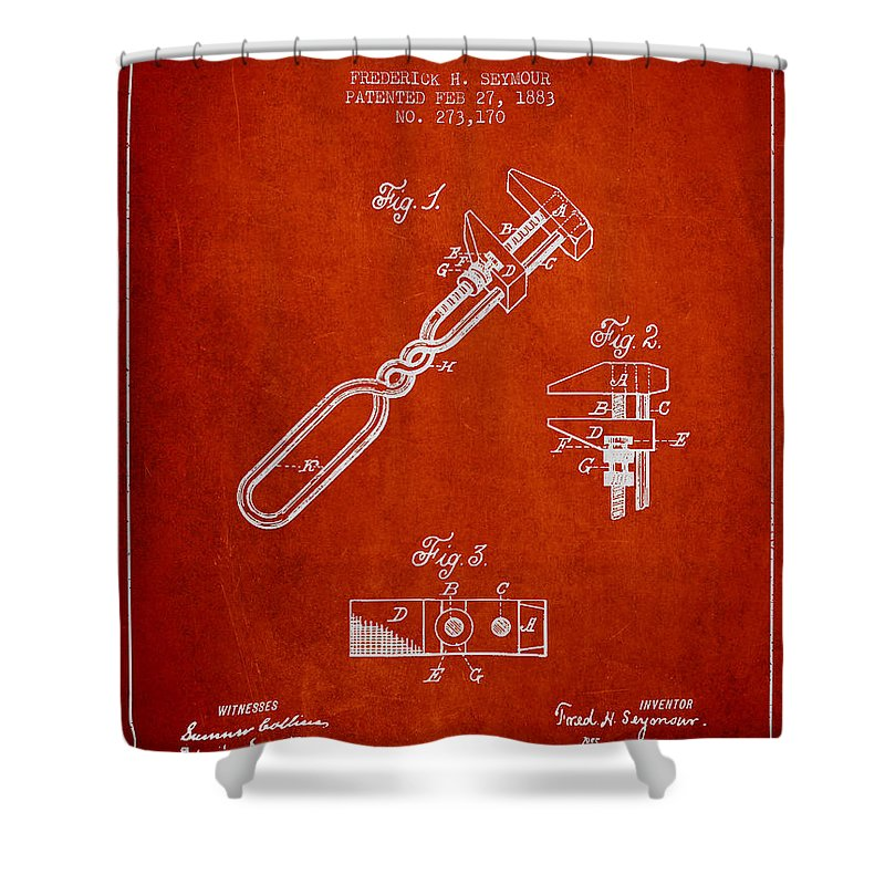 Monkey Wrench Shower Curtain featuring the digital art Monkey Wrench Patent Drawing From 1883 by Aged Pixel