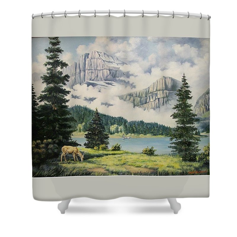 Landscape Shower Curtain featuring the painting Morning At The Glacier by Wanda Dansereau