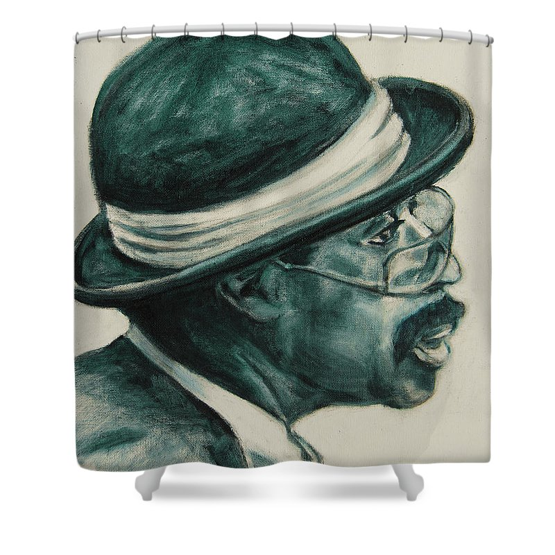 Black Shower Curtain featuring the painting Mr Bowler Mustache by Xueling Zou