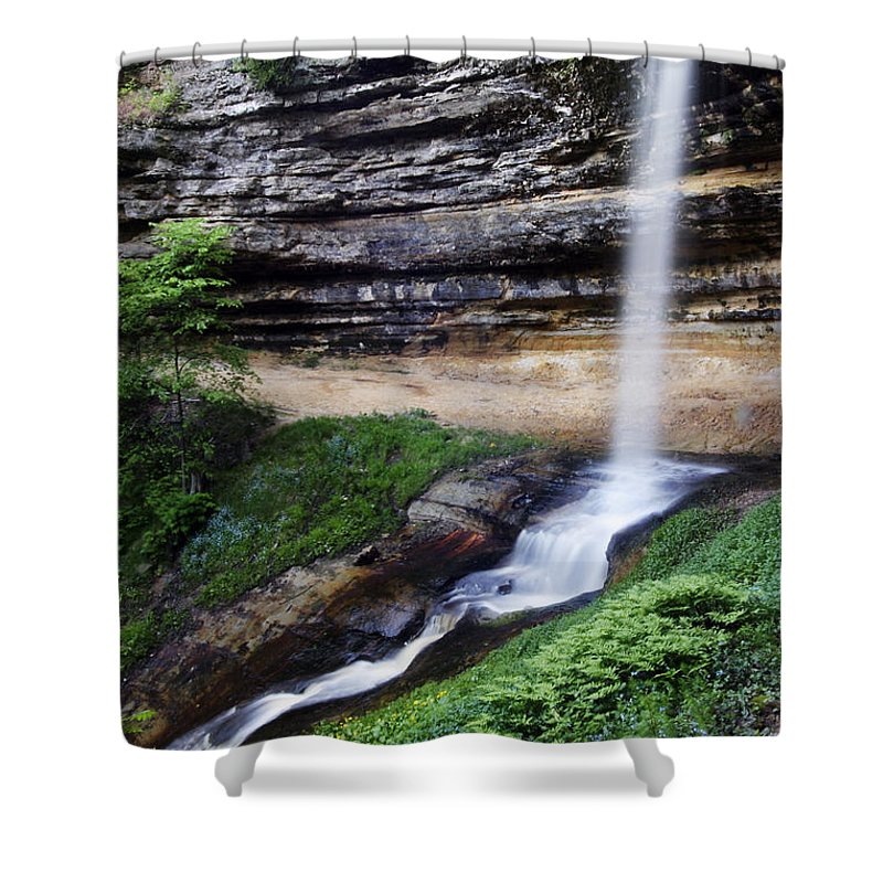 3scape Shower Curtain featuring the photograph Munising Falls by Adam Romanowicz