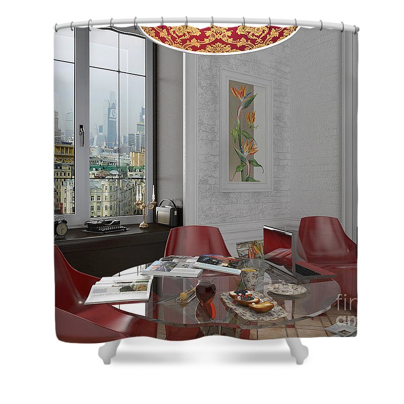 Yakubovich Shower Curtain featuring the painting My Art In The Interior Decoration - Elena Yakubovich by Elena Yakubovich