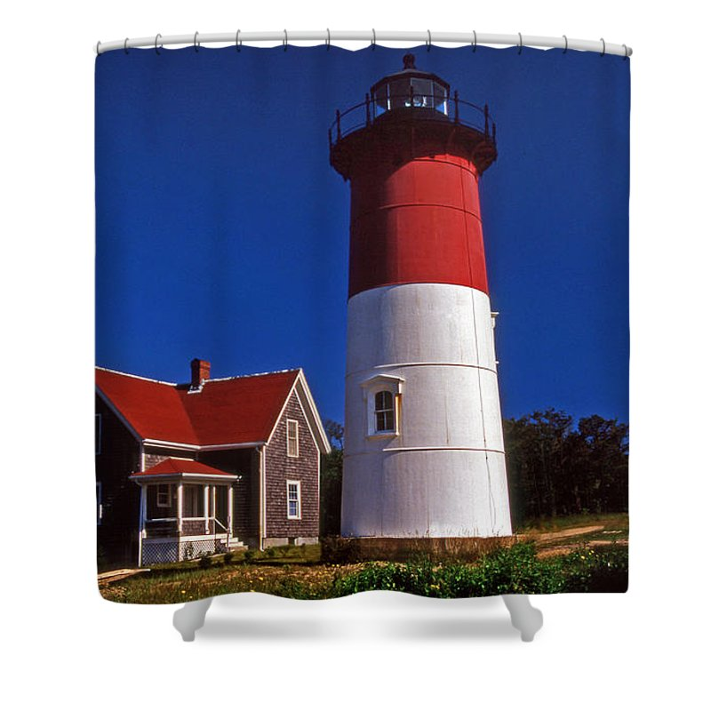 Lighthouses Shower Curtain featuring the photograph Nauset Beach Lighthouse by Skip Willits