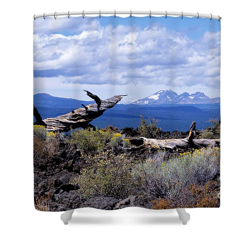 Newberry Shower Curtain featuring the photograph Newberry Lava Beds by Sharon Elliott