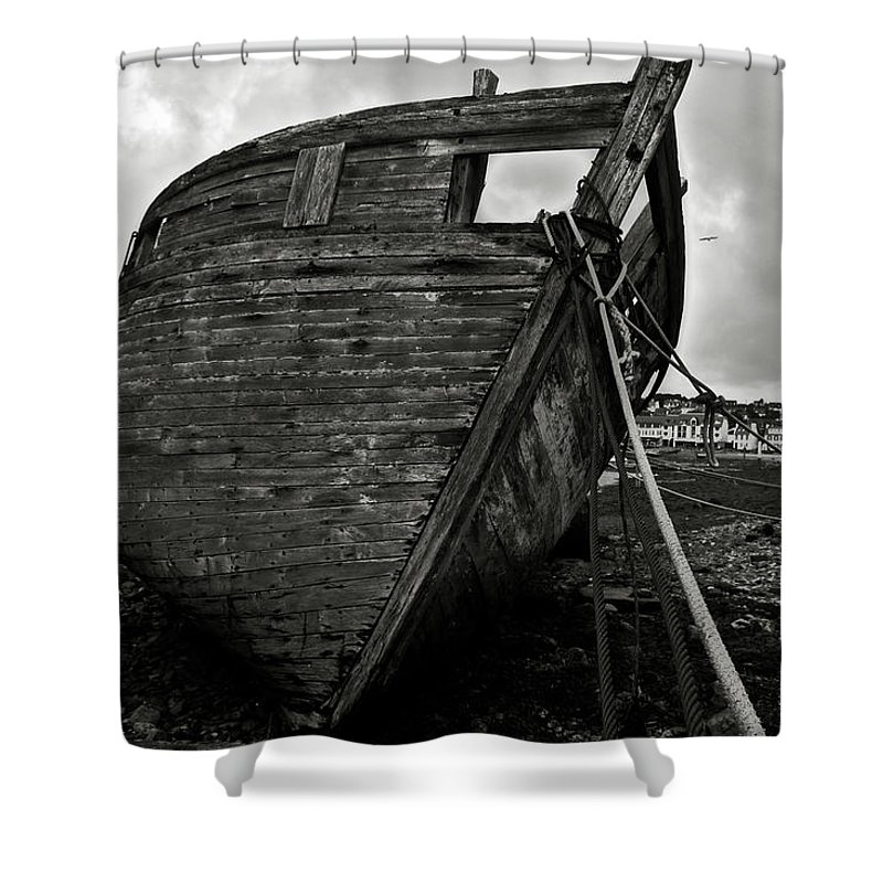 Old Shower Curtain featuring the photograph Old Abandoned Ship by RicardMN Photography
