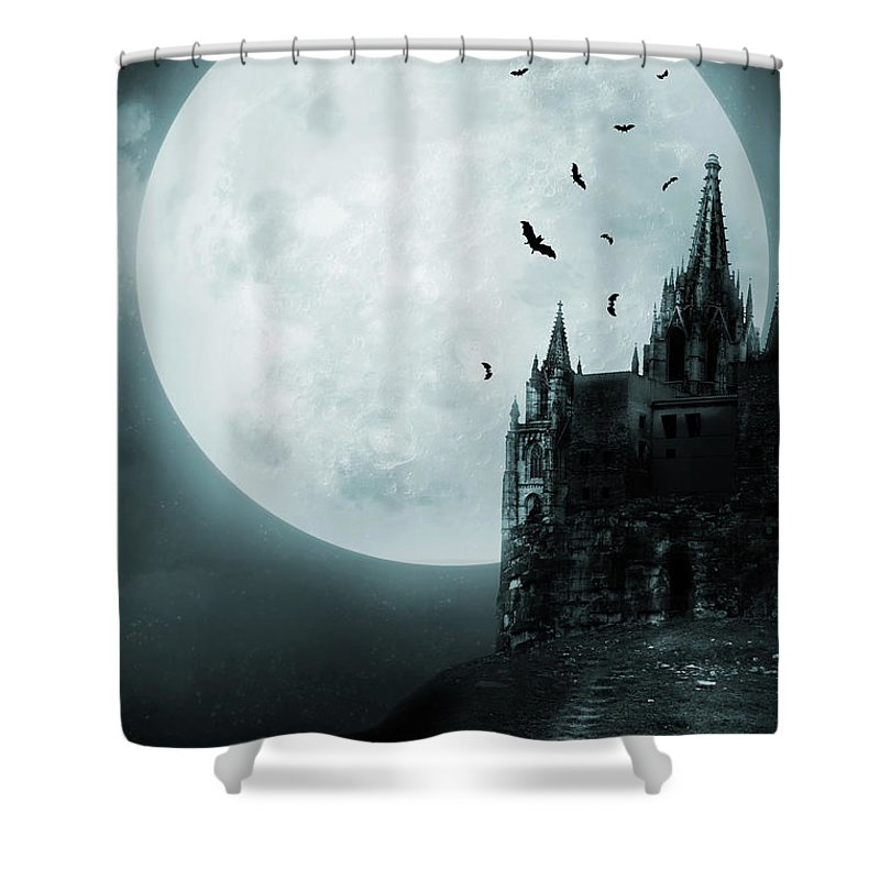 Gothic Style Shower Curtain featuring the photograph Old Castle by Vladgans