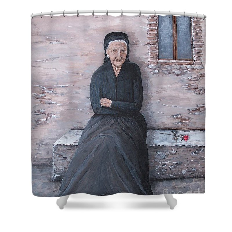 Old Lady Shower Curtain featuring the painting Old Woman Waiting by Judy Kirouac