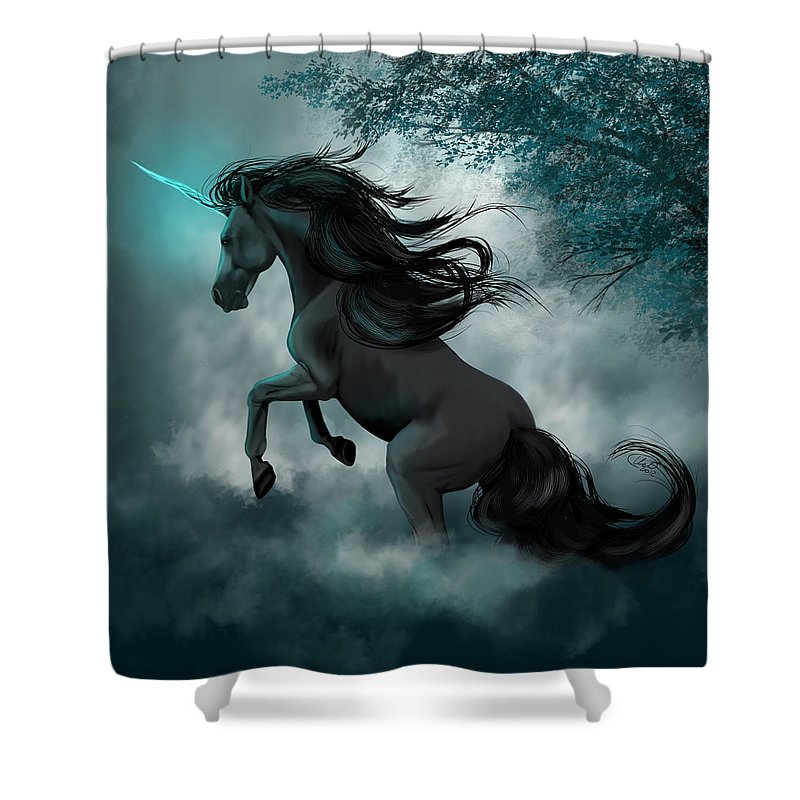 Horse Shower Curtain featuring the digital art Only Dreams Remain by Kate Black