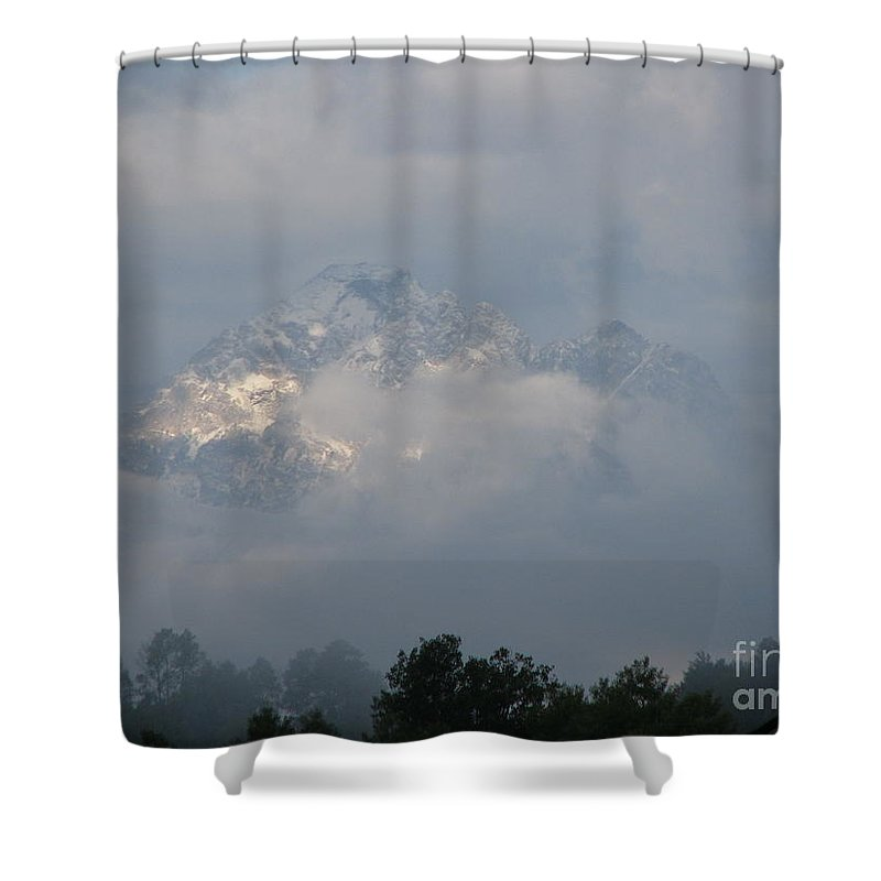 Rocky Mountains Shower Curtain featuring the photograph Out Of The Clouds by Greg Patzer
