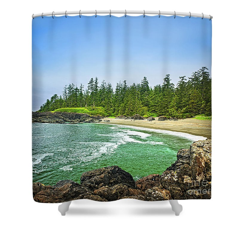 Pacific Ocean Coast On Vancouver Island Shower Curtain For Sale By