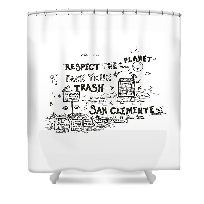 Packyourtrashdrawing Shower Curtain featuring the drawing Pack Your Trash 3 by Paul Carter