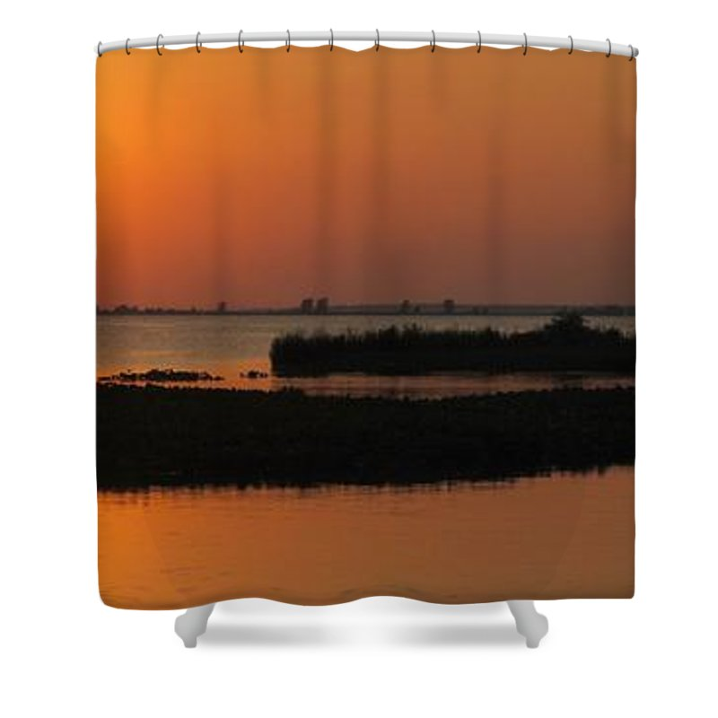 Panorama Shower Curtain featuring the photograph Panoramic Sunset by Frozen in Time Fine Art Photography