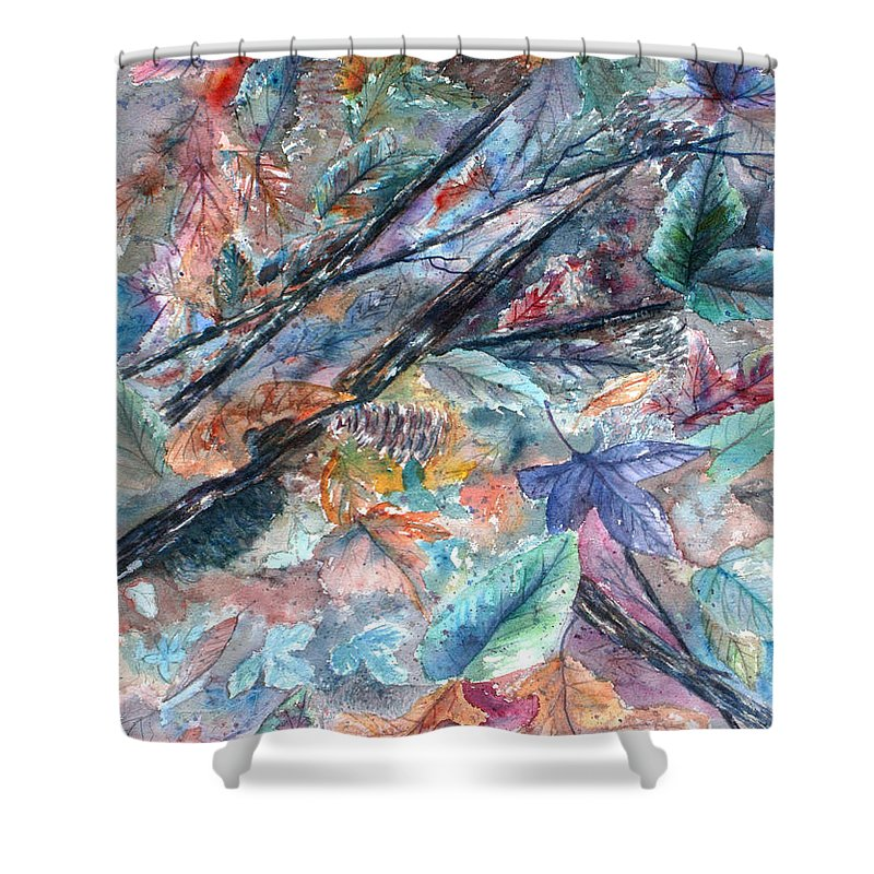 Pine Cones Shower Curtain featuring the painting Pattern of Leaves by Ben Kiger