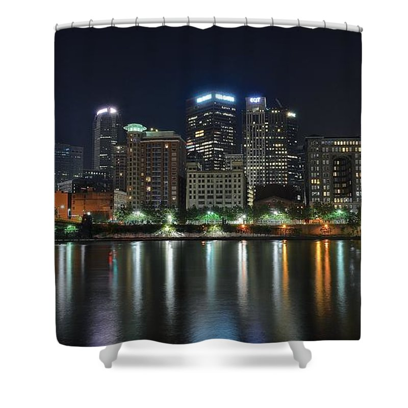 Pittsburgh Shower Curtain featuring the photograph Pittsburgh Panorama by Frozen in Time Fine Art Photography