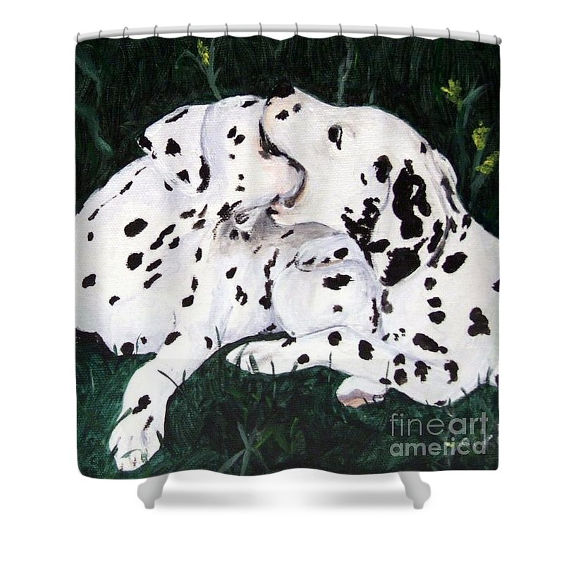 Dogs Shower Curtain featuring the painting Playful Pups by Jacki McGovern