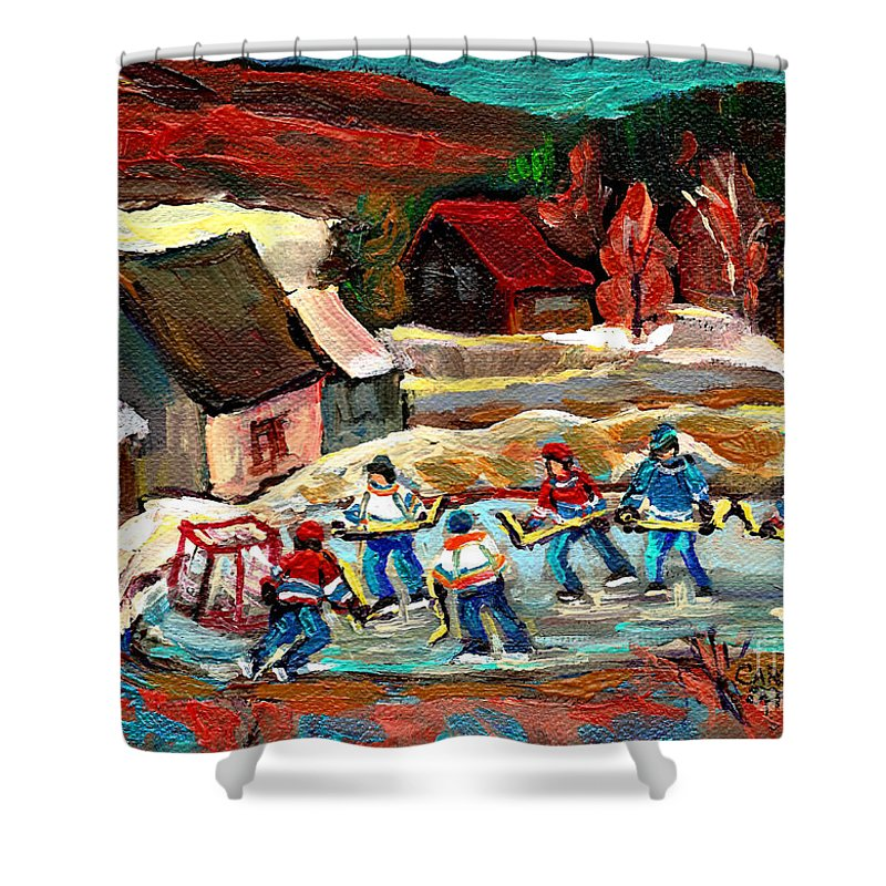 Pond Hockey Shower Curtain featuring the painting Pond Hockey 3 by Carole Spandau