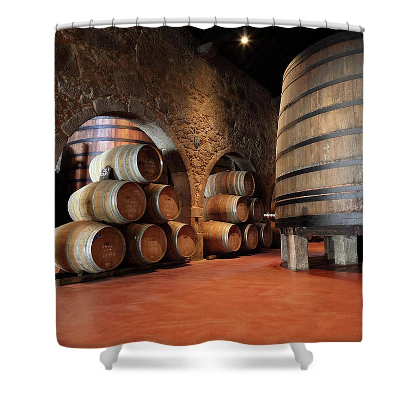 Fermenting Shower Curtain featuring the photograph Porto Wine Cellar by Vuk8691