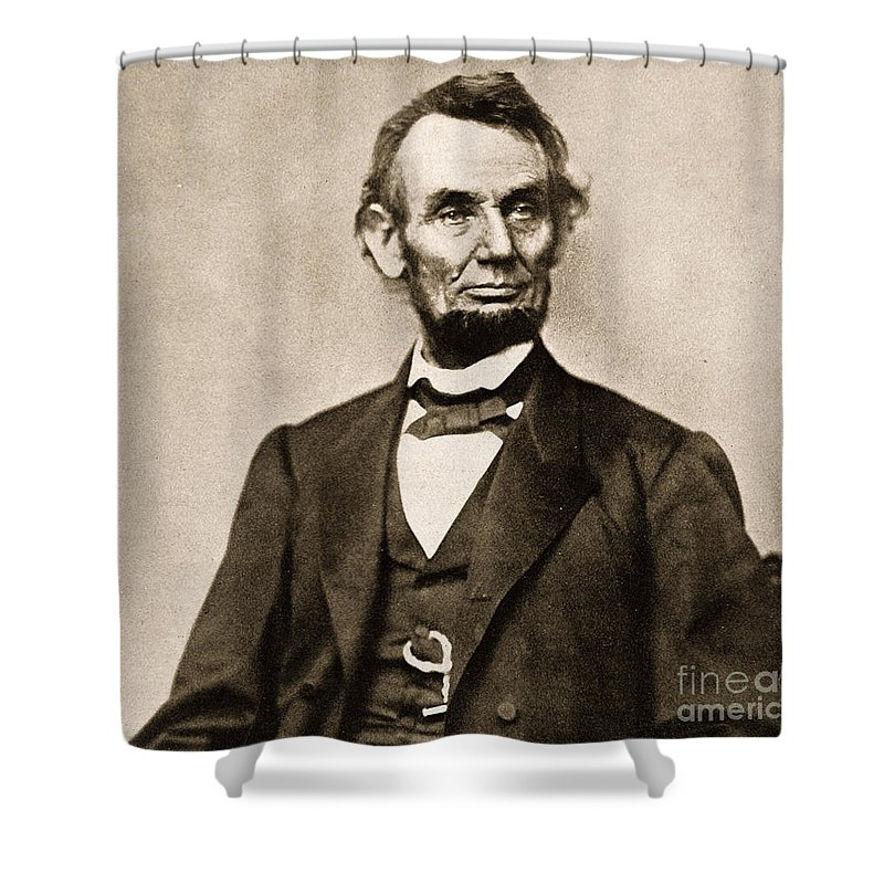 Black And White Photograph Shower Curtain featuring the photograph Portrait Of Abraham Lincoln by Mathew Brady