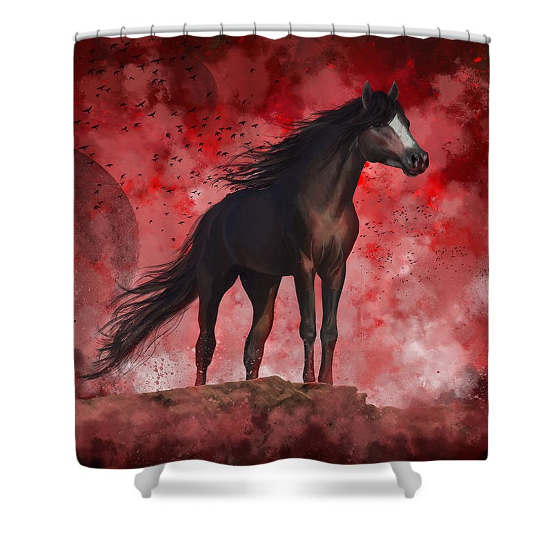 Horse Shower Curtain featuring the digital art Protector by Kate Black