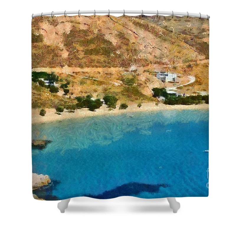 Serifos; Psili Ammos; Beach; Greece; Hellas; Greek; Cyclades; Kyklades; Aegean; Islands; Sand; Island; Sea; Holidays; Vacation; Travel; Trip; Voyage; Journey; Tourism; Touristic; Summer; Clear Water Shower Curtain featuring the painting Psili Ammos Beach In Serifos Island by George Atsametakis