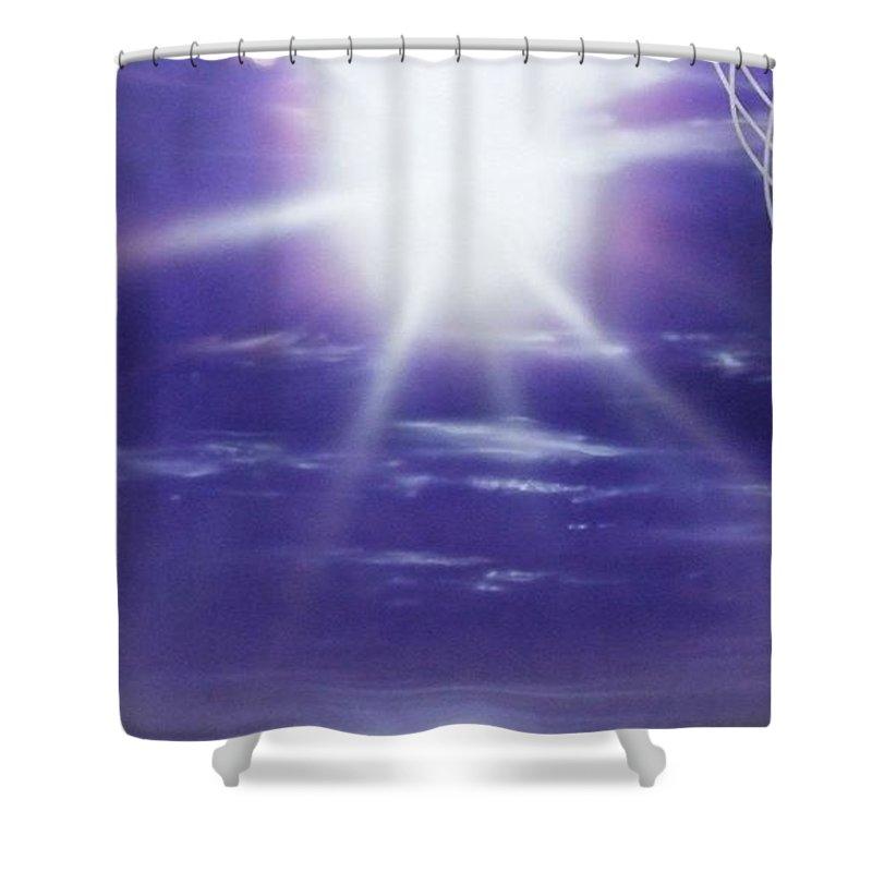 Ocean Art Shower Curtain featuring the painting Purple Aura II by Christian Chapman Art