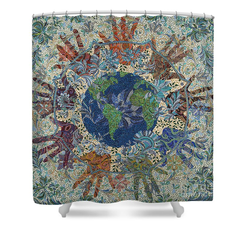 Peace Shower Curtain featuring the painting Reach Out by Erika Pochybova