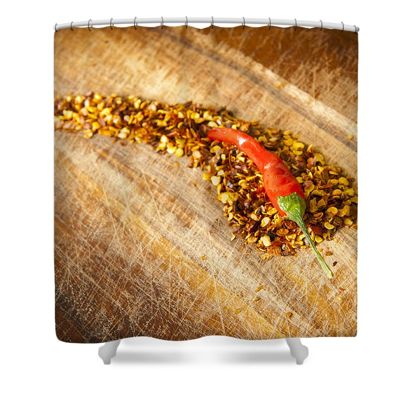 Background Shower Curtain featuring the photograph Red Hot Chilli Concept by Tim Hester