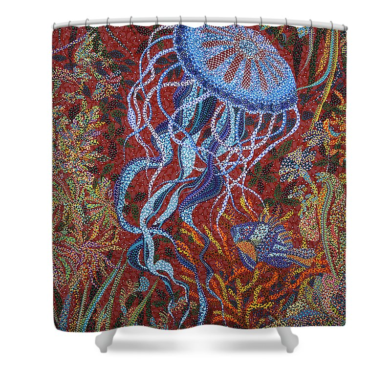 Reef Shower Curtain featuring the painting Red Reef by Erika Pochybova