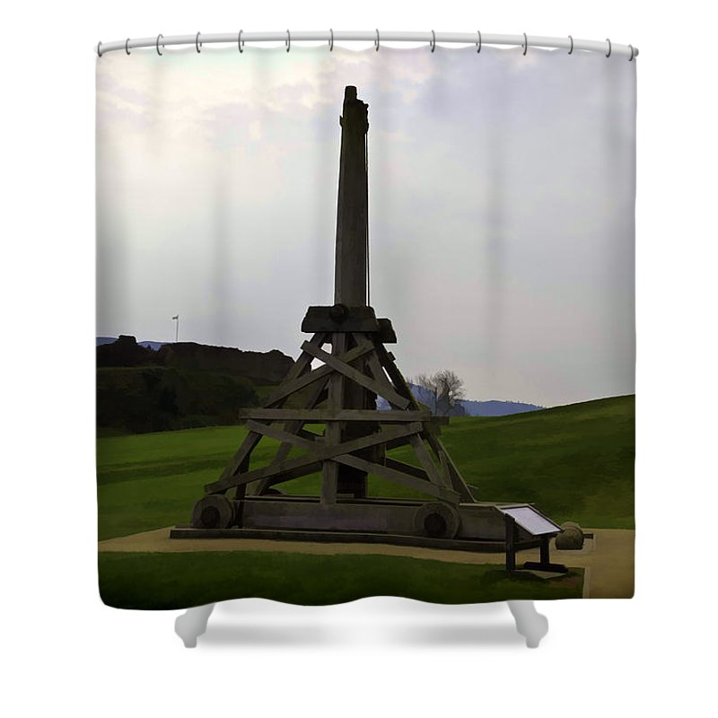 Castle Shower Curtain featuring the digital art Replica Of Wooden Trebuchet And The Ruins Of The Urquhart Castle by Ashish Agarwal