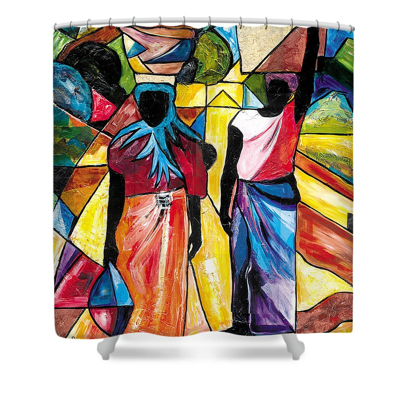 Everett Spruill Shower Curtain featuring the painting Road to the Market by Everett Spruill