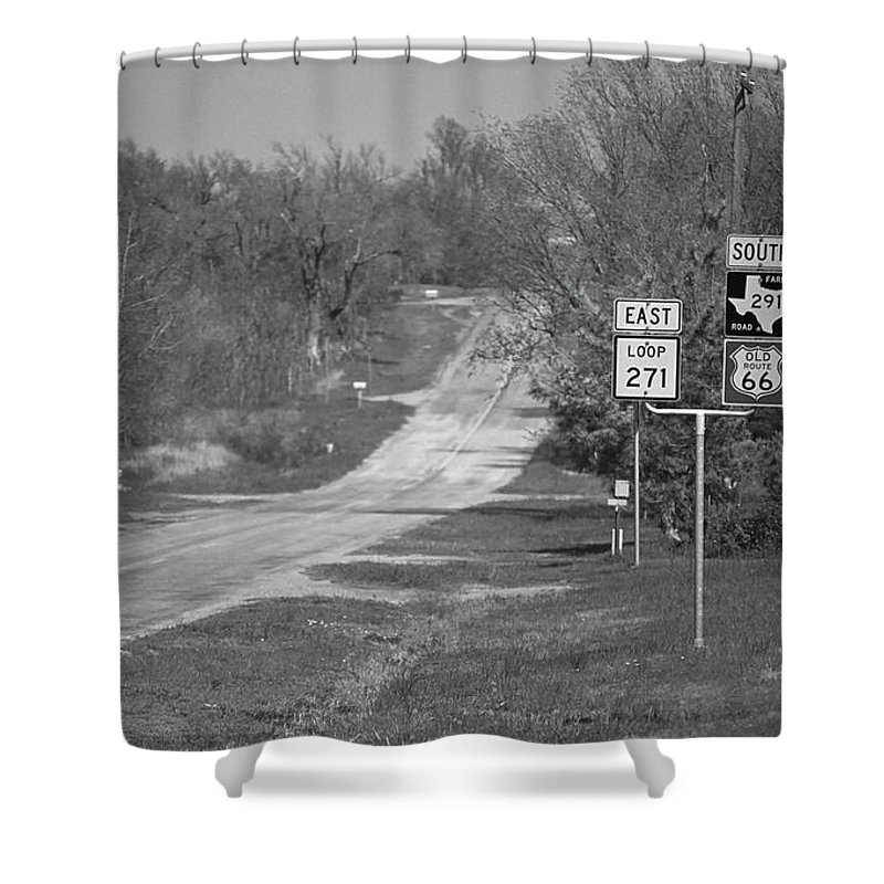 66 Shower Curtain featuring the photograph Route 66 - Alanreed Texas by Frank Romeo