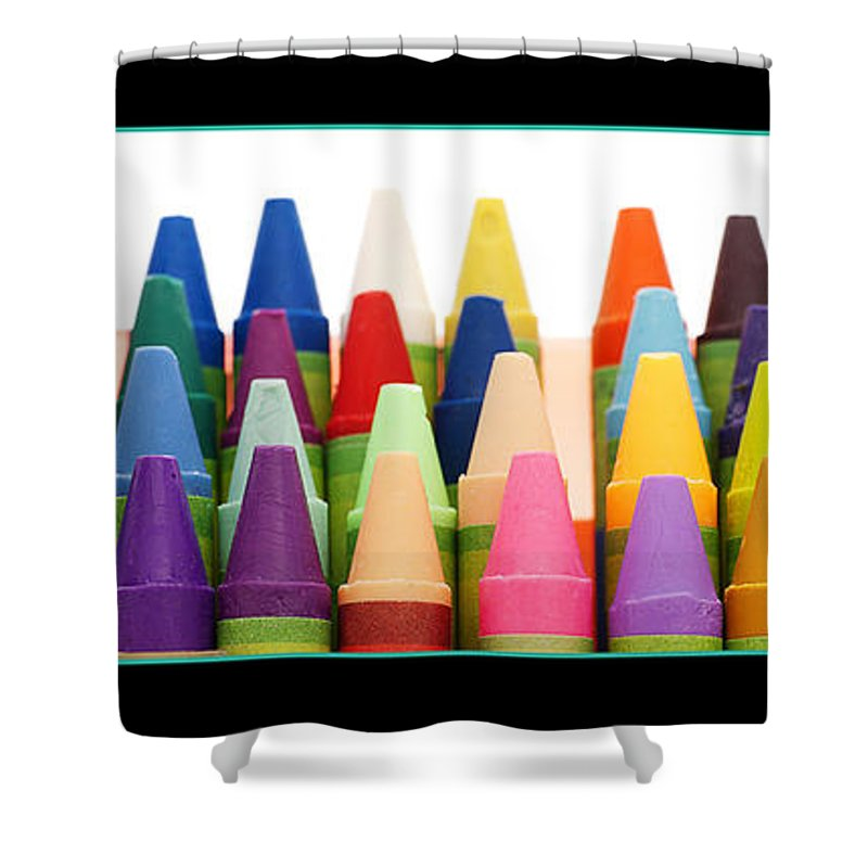 Crayon Shower Curtain featuring the photograph Rows Of Crayons by Donald Erickson