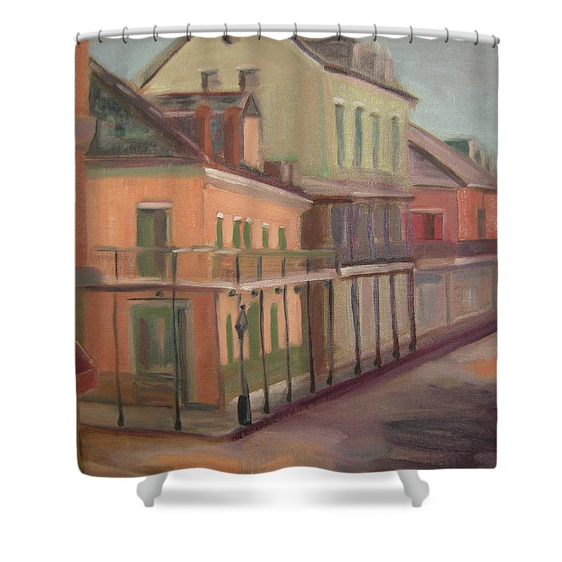 New Orleans Shower Curtain featuring the painting Royal Street II by Lilibeth Andre