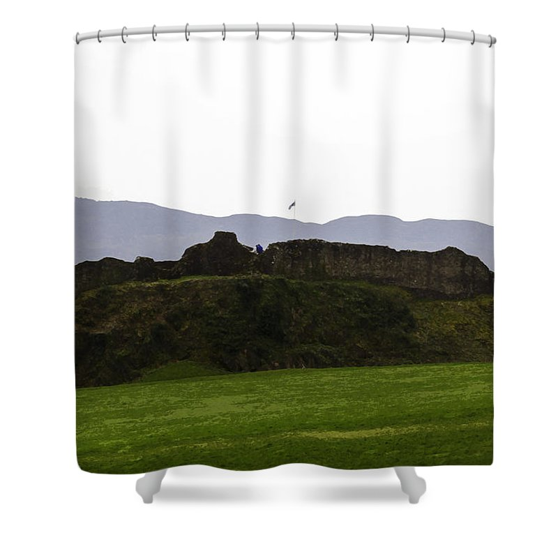 Blue Sky Shower Curtain featuring the digital art Saltire And The Ruins Of The Urquhart Castle In Scotland by Ashish Agarwal