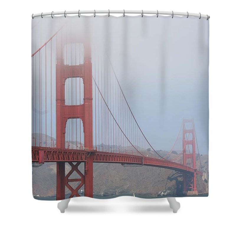 San Francisco Shower Curtain featuring the photograph San Francisco - Golden Gate Bridge by Christiane Schulze Art And Photography