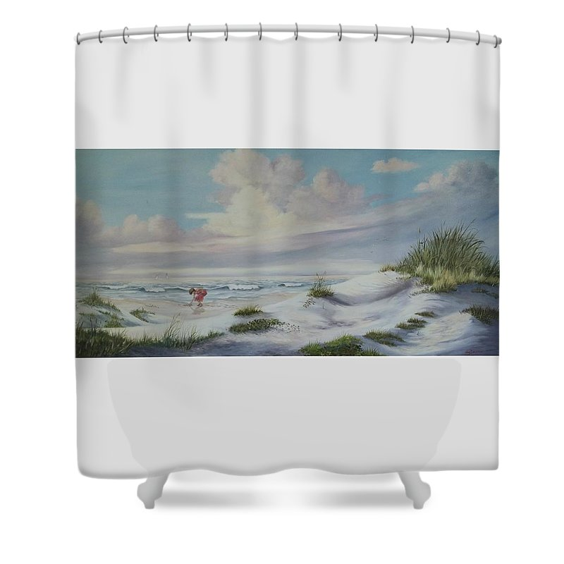 Landscape Shower Curtain featuring the painting Shadows In The Sand Dunes by Wanda Dansereau