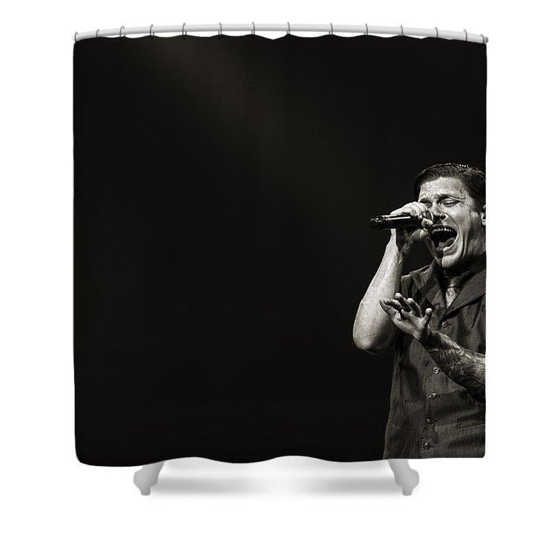 1-25-2013 Shower Curtain featuring the photograph Shinedown Brent Smith by William Towner