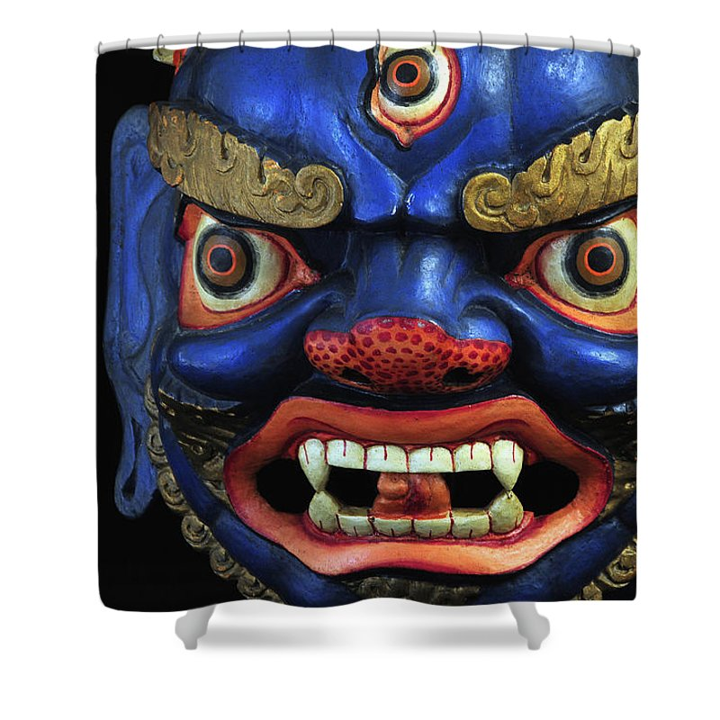 Colorful Shower Curtain featuring the photograph Sikkim Dance Mask, India by Theodore Clutter
