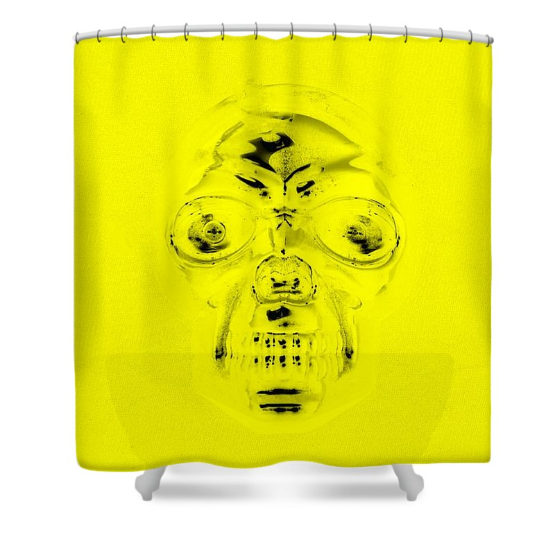 Skull Shower Curtain featuring the photograph Skull In Yellow by Rob Hans