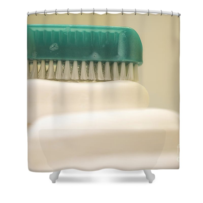 Soap Shower Curtain featuring the photograph Soap And Brush by Mats Silvan