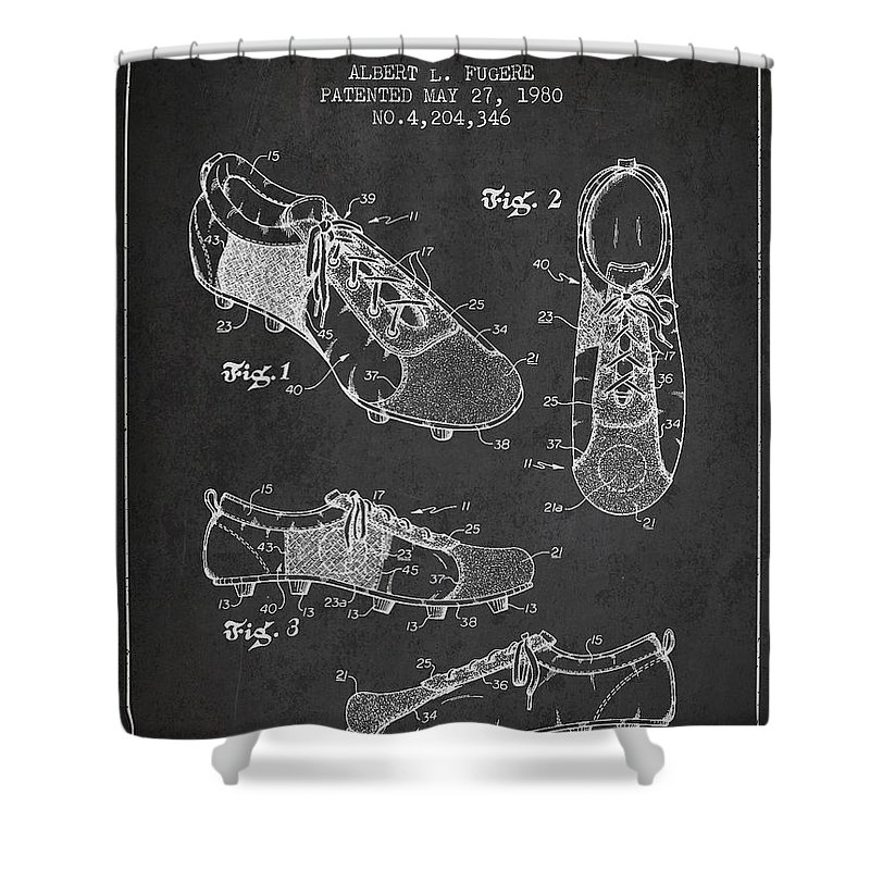 Soccer Shoe Shower Curtain featuring the digital art Soccershoe Patent From 1980 by Aged Pixel