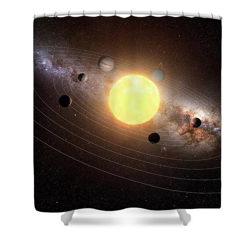 Black Background Shower Curtain featuring the digital art Solar System, Artwork by Sciepro