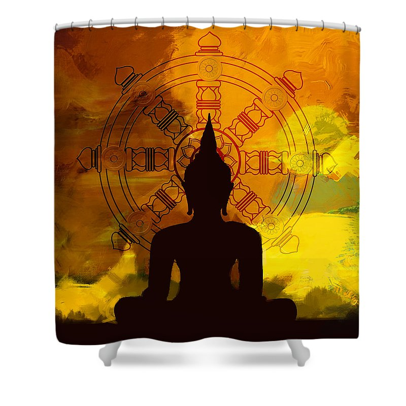 Buddha Art Paintings Shower Curtain featuring the painting South Asian Art by Corporate Art Task Force
