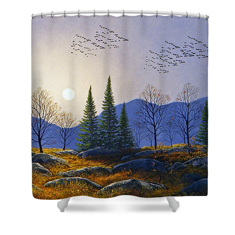 Migration Shower Curtain featuring the painting Southern Migration By Moonlight by Frank Wilson