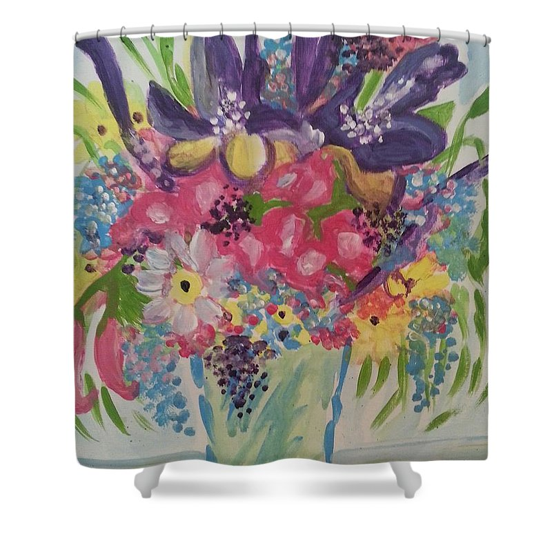 Flora Shower Curtain featuring the painting Spring Bouquet by Nikki Dalton