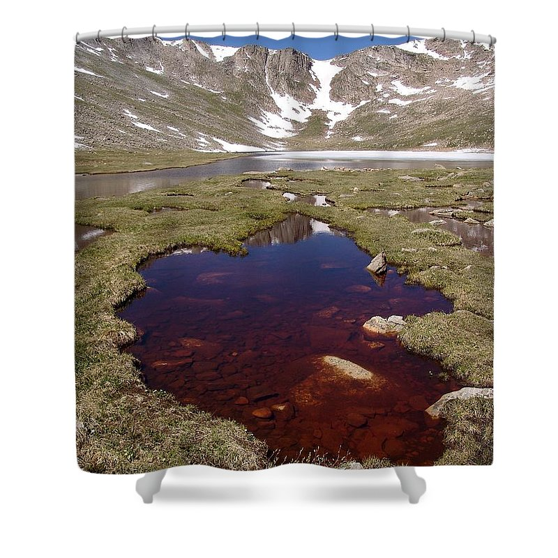 Mountain Shower Curtain featuring the photograph Mountain Lakes - Spring Thaw by Ian Mcadie