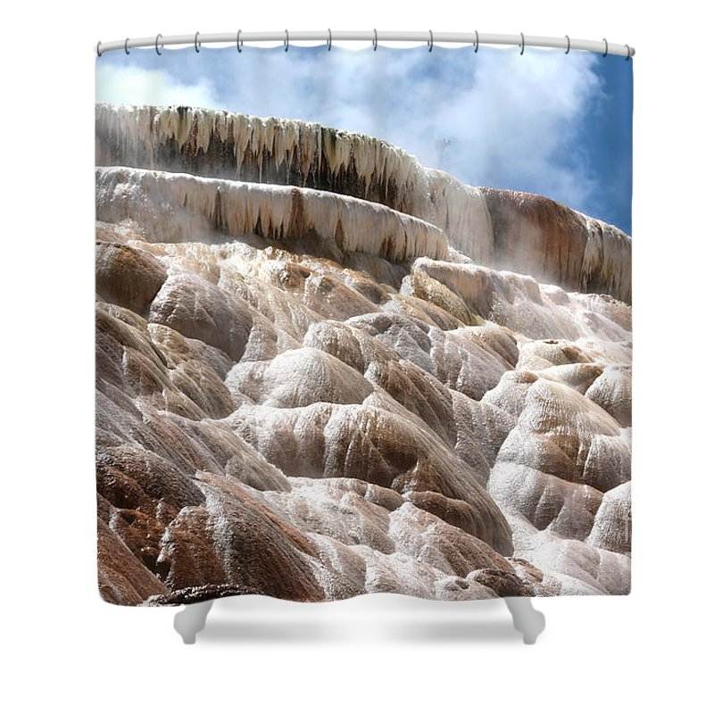 Wyoming Shower Curtain featuring the photograph Steamy Mammoth Hot Springs by Carol Groenen