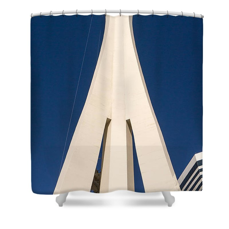 Stratoshere Shower Curtain featuring the photograph Stratosphere Las Vegas by Edward Fielding