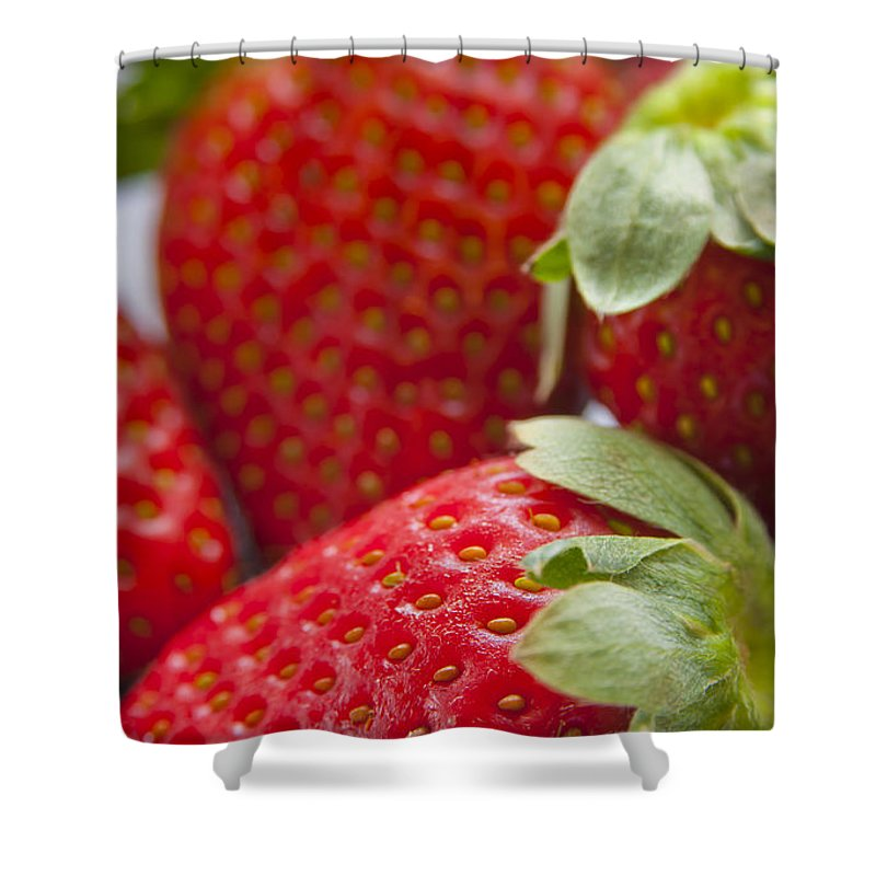 Macro Shower Curtain featuring the photograph Strawberries by Tim Hester