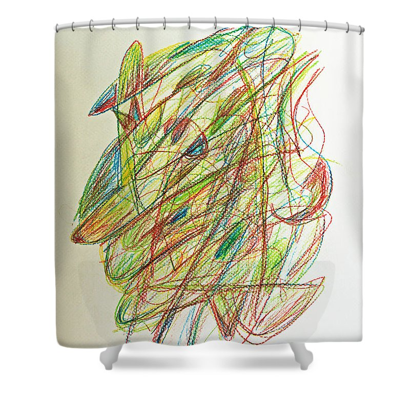 Abstract Shower Curtain featuring the drawing Subconscious Thought No. 1 by Augusta Stylianou