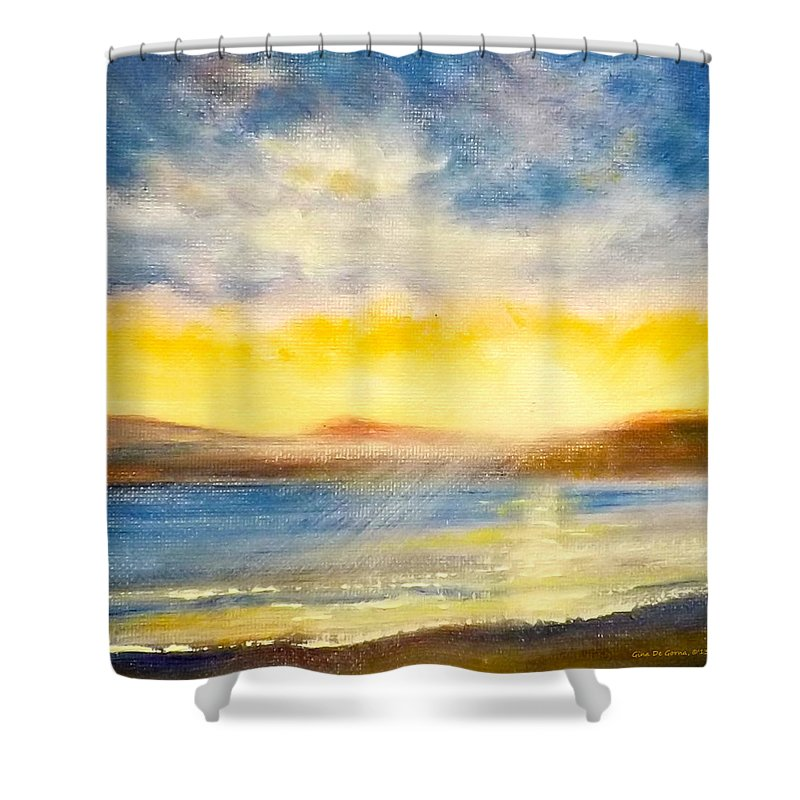 Landscapes Shower Curtain featuring the painting Sunset by Gina De Gorna